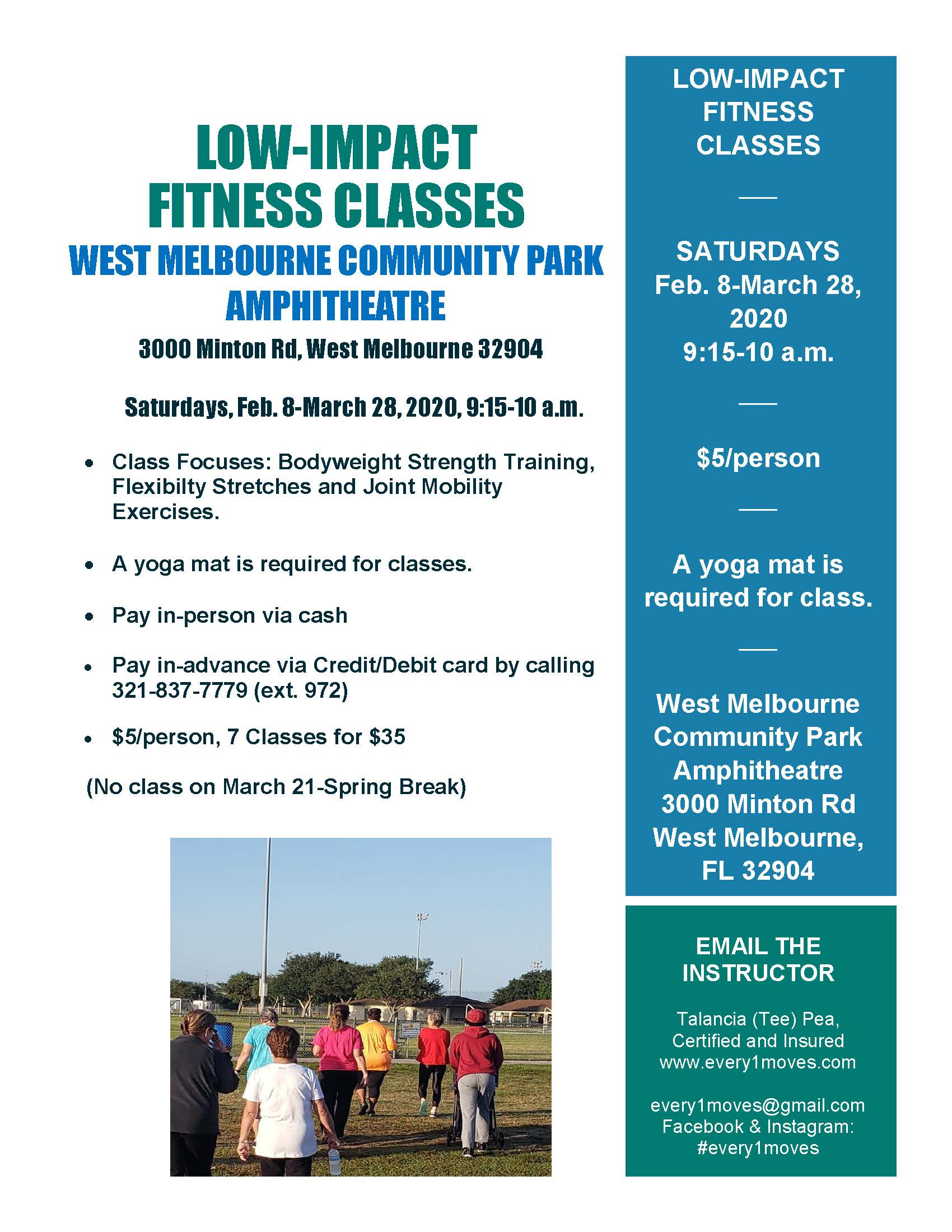 Low-Impact Fitness Class Flyer